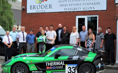 Assetto Motorsport's Max Dodds visits Broder Metals Group with his Ginetta G40